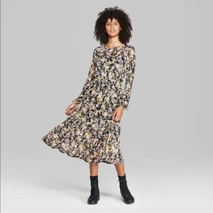 Wild Fable Floral Print Long Sleeve Tier Mesh Midi